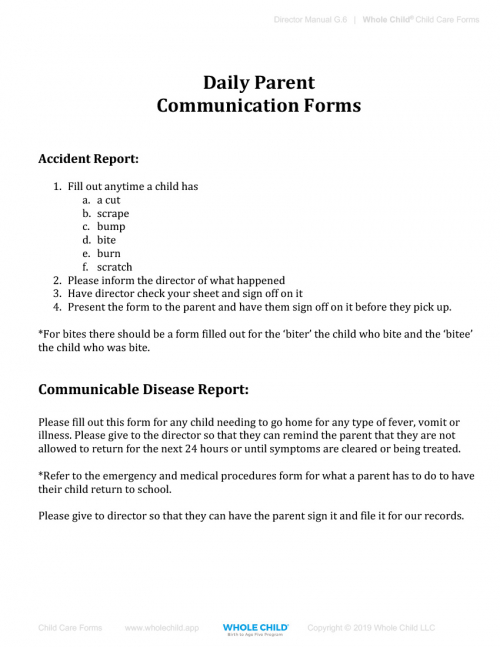 Daily Parent Communication Forms