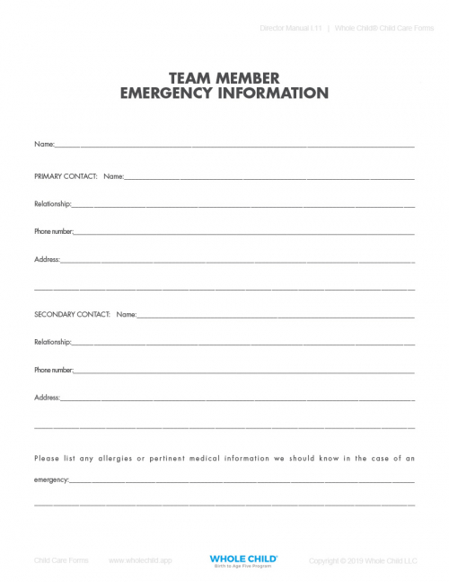 Team Member Emergency Information