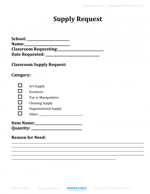 Classroom Supply Request Form