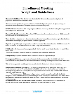 Enrollment Meeting Script and Guidelines