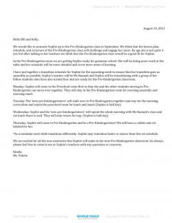 Pre-K Transition Letter