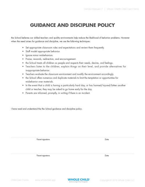 Guidance and Discipline Policy