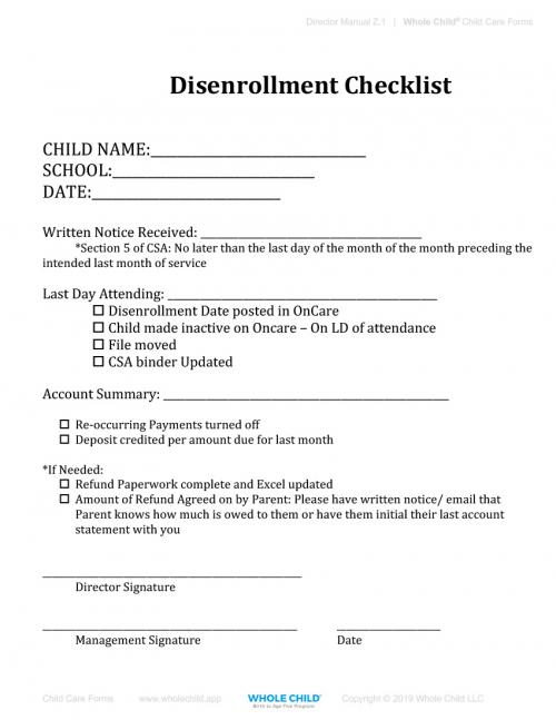 Disenrollment Checklist