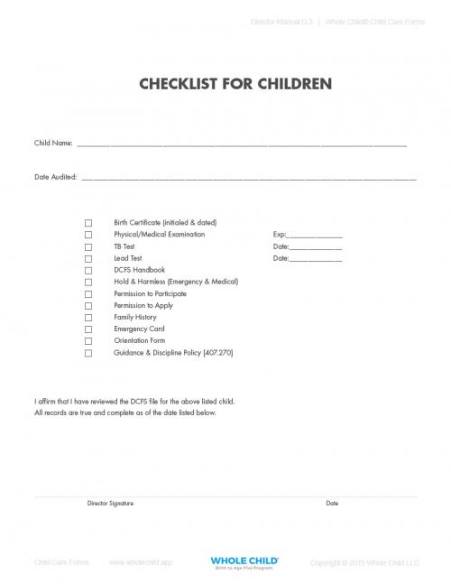 Checklist for Children